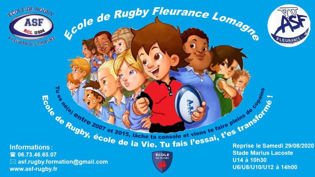 Reprise de l'école de rugby Fleurance Lomagne le samedi 29 août 2020